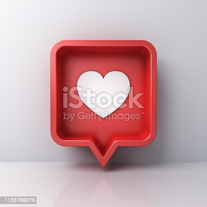 istock 3d social media notification love like heart icon in red rounded square pin isolated on white wall background with shadow and reflection 3D rendering 1133766079