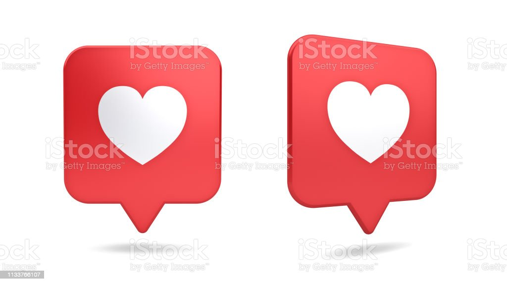 3d social media notification love like heart icon in red rounded...