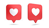 istock 3d social media notification love like heart icon in red rounded square pin isolated on white background with shadow 3D rendering 1133766107