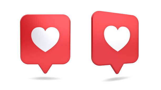 3d social media notification love like heart icon in red rounded square pin isolated on white background with shadow 3D rendering 3d social media notification love like heart icon in red rounded square pin isolated on white background with shadow 3D rendering auto post production filter stock pictures, royalty-free photos & images