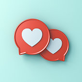 istock 3d social media notification love like heart icons on red round speech bubbles isolated on light green cyan pastel color wall background with shadow 1159845893