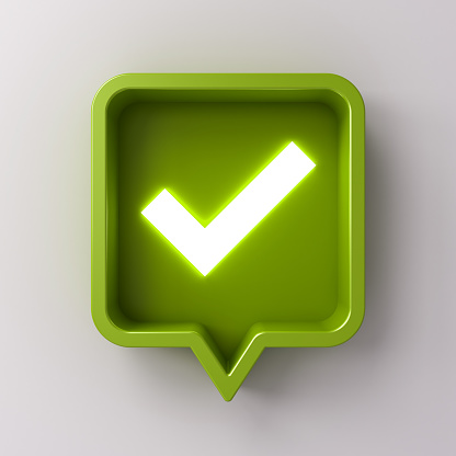 istock 3d social media notification neon light check mark icon in green rounded square pin isolated on white background with shadow 1155072594
