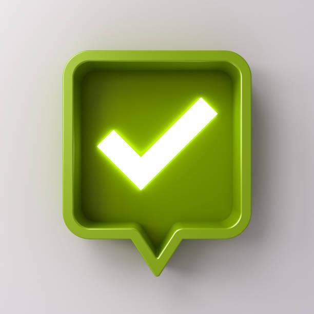 3d social-media-benachrichtigung neon light check mark icon in grün abgerundeten quadratischen pin auf weißem hintergrund mit schatten isoliert - zeckenmittel stock-fotos und bilder