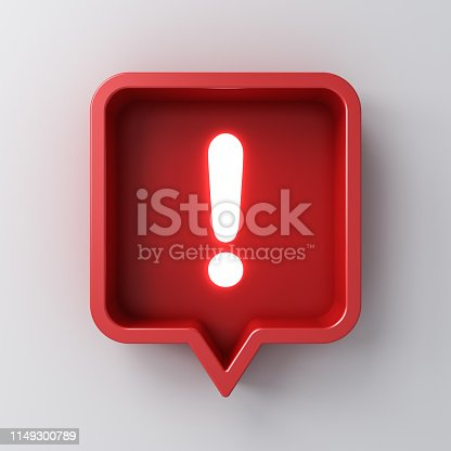 istock 3d social media notification neon light Exclamation mark icon in red rounded square pin isolated on white background with shadow 3D rendering 1149300789