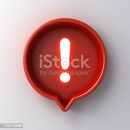 istock 3d social media notification neon light Exclamation mark icon in red round box pin isolated on white background with shadow 1160702586