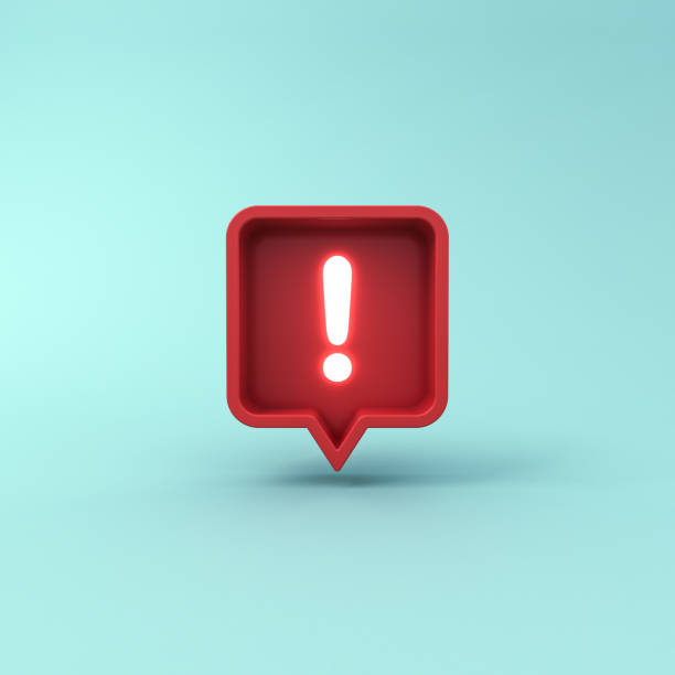3d social media notification neon light Exclamation mark icon in red rounded square pin isolated on blue pastel color background with shadow 3d social media notification neon light Exclamation mark icon in red rounded square pin isolated on blue pastel color background with shadow 3D rendering absorption stock pictures, royalty-free photos & images