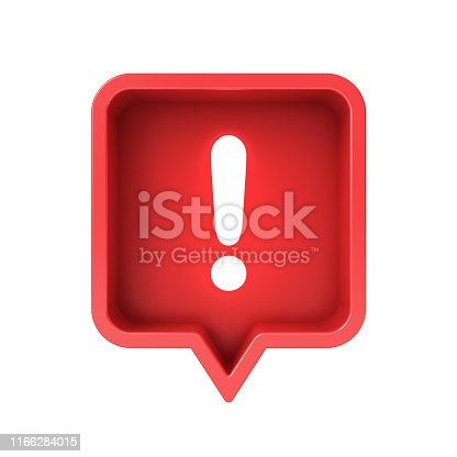 istock 3d social media notification neon light Exclamation mark icon in red rounded square pin isolated over white background 1166284015