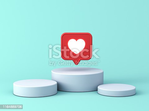 istock 3d social media notification neon light like heart icon in red speech bubble pin on white podium isolated on blue green pastel color background with shadow 1164889706