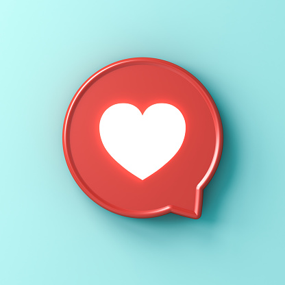 3d social media notification neon light love like heart icon in red rounded square pin isolated on light blue green pastel color  wall background with shadow 3D rendering