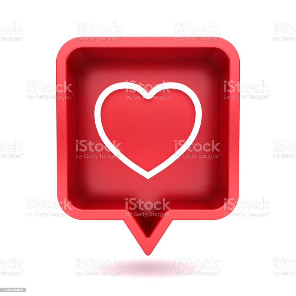 3d social media notification neon love like heart icon in red rounded square pin isolated on white background with shadow 3D rendering foto stock royalty-free