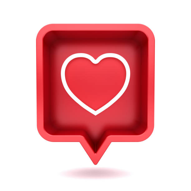 3d social media notification neon love like heart icon in red rounded square pin isolated on white background with shadow 3D rendering stock photo