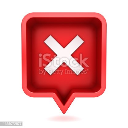 istock 3d social media notification white cross sign icon in red rounded square pin isolated on white background with shadow 1155072577