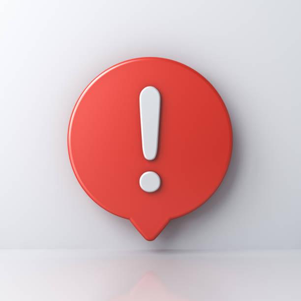 3d notificación de medios sociales signo de exclamación blanco en rojo icono de pasador redondo aislado en fondo blanco con sombra y reflexión - concentración fotografías e imágenes de stock