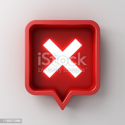 istock 3d social media notification white neon light cross sign icon in red rounded square pin isolated on white background with shadow 1155072580