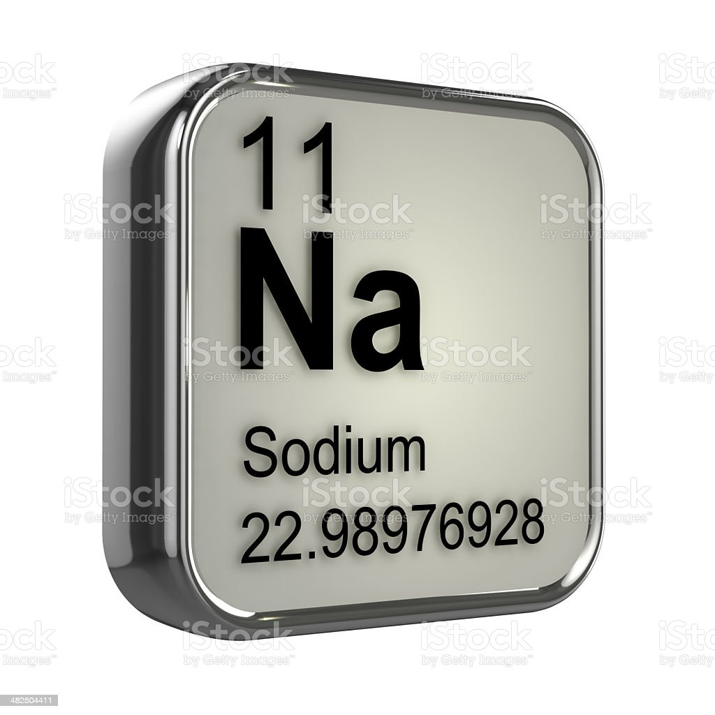 3d Sodium element 3d render of the sodium element from the periodic table Atom Stock Photo