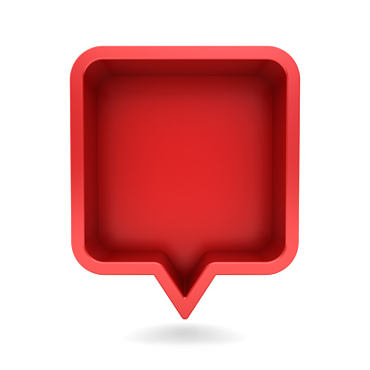 3d speech bubble or blank red rounded square chat pin with shadow isolated on white background 3D rendering
