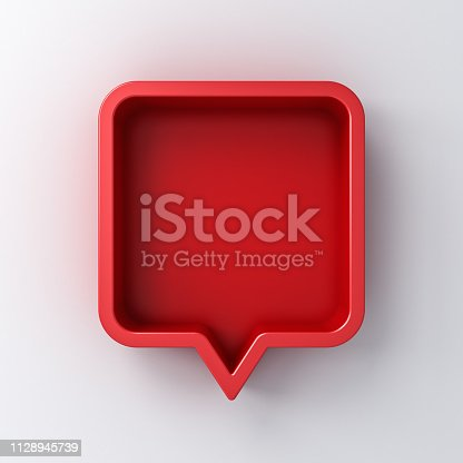 1125351850istockphoto 3d speech bubble or blank red rounded square chat pin with shadow on white wall background 3D rendering 1128945739