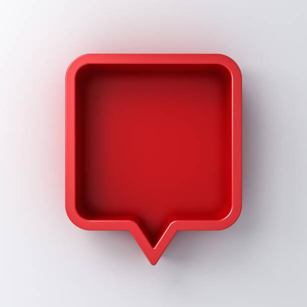 3d konuşma balonu veya boş kırmızı kare sohbet iğne beyaz duvar arka plan 3d render gölge ile yuvarlak - şekil stok fotoğraflar ve resimler
