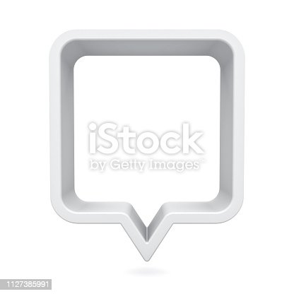 1125351850istockphoto 3d speech bubble or blank white rounded square chat pin isolated on white background with shadow 3D rendering 1127385991