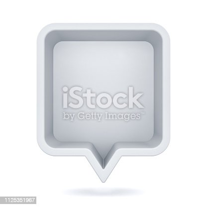 1125351850 istock photo 3d speech bubble or blank white rounded square chat pin with shadow isolated on white background 3D rendering 1125351967