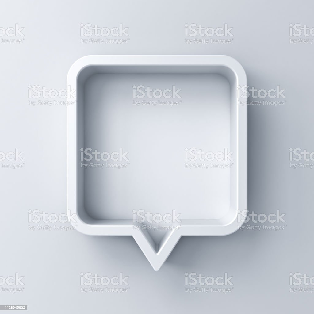 3d speech bubble or blank white rounded square chat pin with shadow isolated on white background 3D rendering royalty-free stock photo