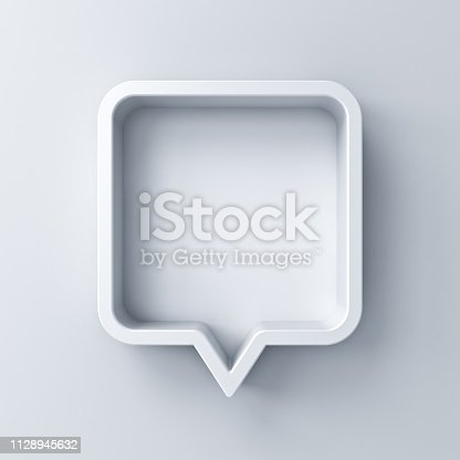 istock 3d speech bubble or blank white rounded square chat pin with shadow isolated on white background 3D rendering 1128945632