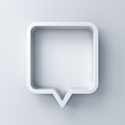 3d speech bubble or blank white rounded square chat pin with shadow isolated on white background 3D rendering