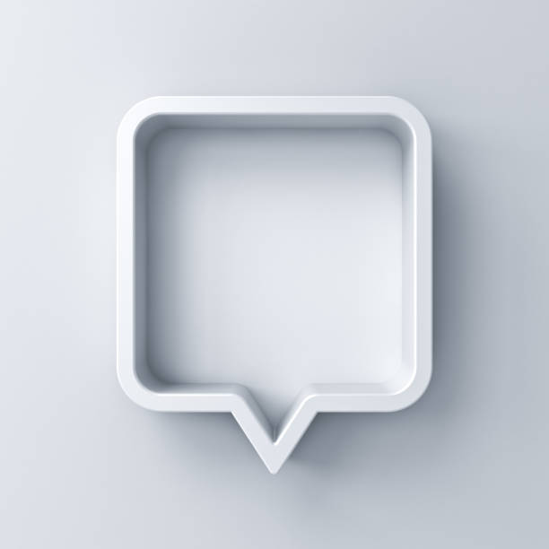 3d speech bubble or blank white rounded square chat pin with shadow isolated on white background 3D rendering 3d speech bubble or blank white rounded square chat pin with shadow isolated on white background 3D rendering speech bubble stock pictures, royalty-free photos & images