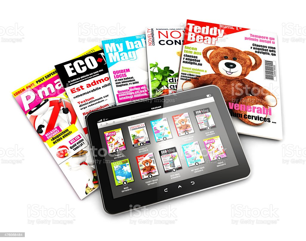 3d stack of magazines and tablet stock photo