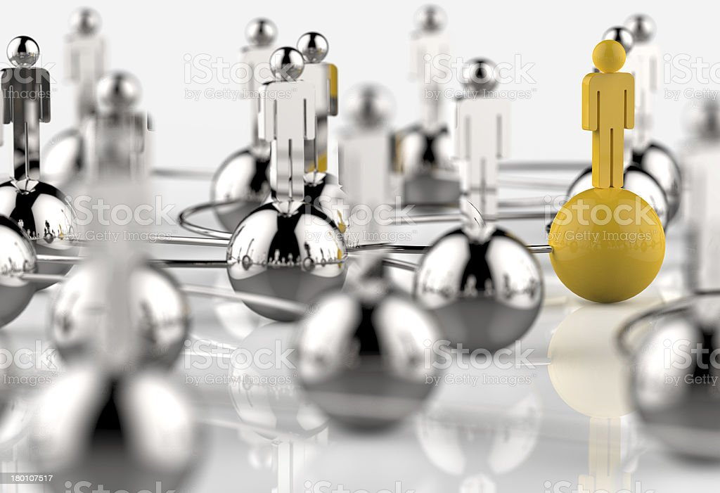 3d stainless human social network and leadership as concept royalty-free stock photo