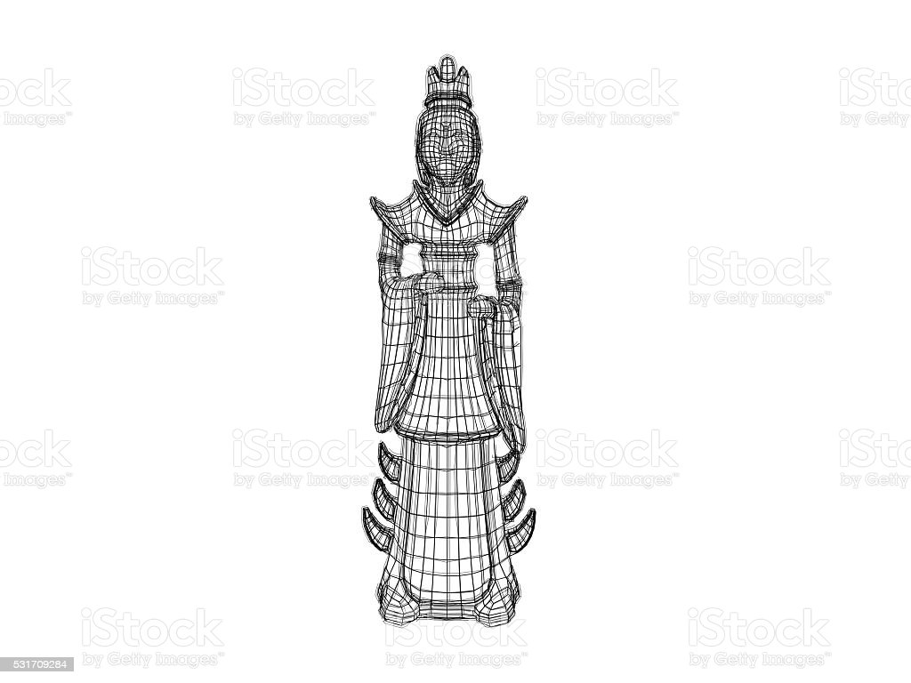 3d Statue Wireframe Stock Photo & More Pictures of Digitally ...