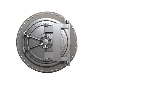 3d stahl bank tür leer - safe stock-fotos und bilder