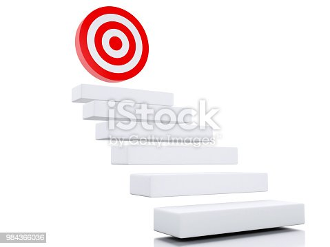 1127097479 istock photo 3d Steps or stairs with goal target. 984366036