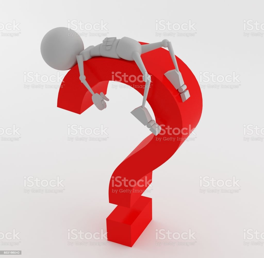 3d stickman dummy question mark isolated stock photo