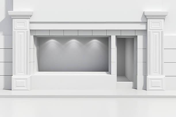 3 d loja loja com janelas grandes - facade shop 3d - fotografias e filmes do acervo