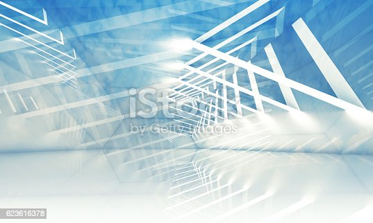 623616378 istock photo 3d stripes of lights over blue cloudy sky 623616378