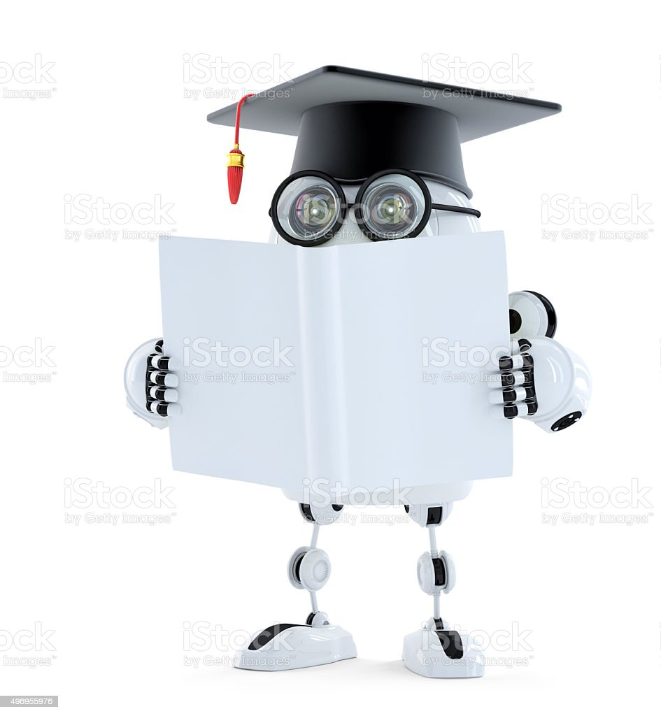 3d Student robot with blank book. Isolated. Contains clipping path stock photo
