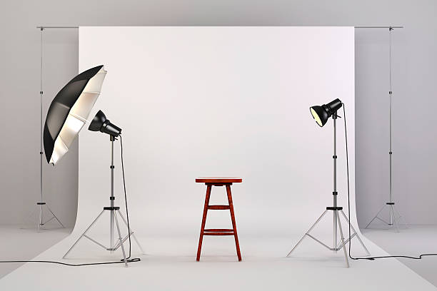 3d studio setup with lights and white background - nesne grubu stok fotoğraflar ve resimler