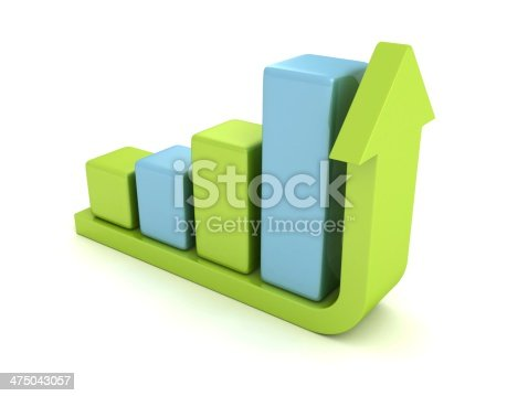 611868428 istock photo 3d success bar diagram with green top rising up arrow 475043057