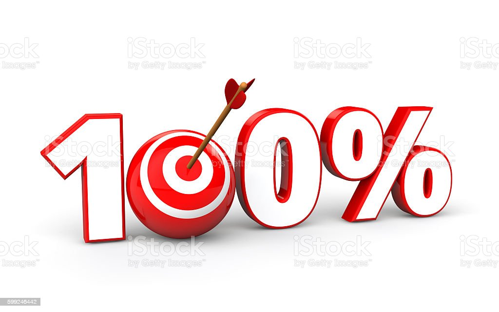 3d target ball in hundred percent stock photo