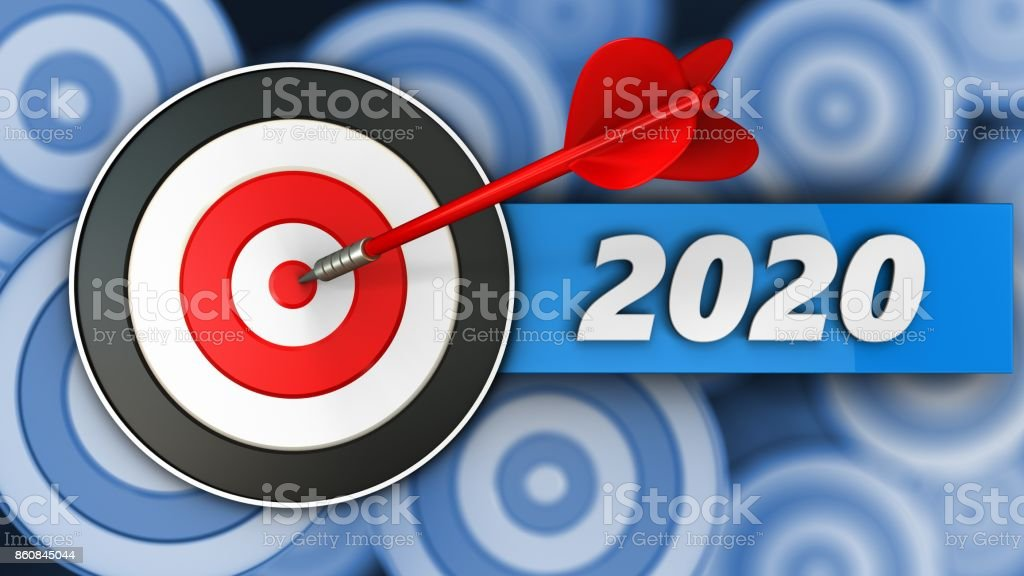 3d target with 2020 year sign stock photo