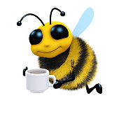 3d render of a bee with a cup of tea