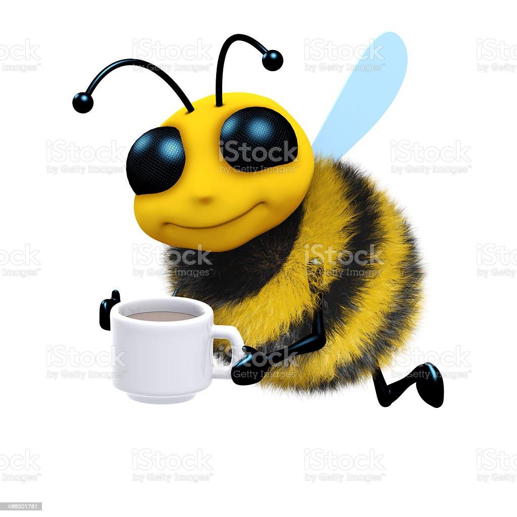 3d Tea break bee stock photo