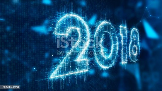 istock 3d text of 2018 869960820