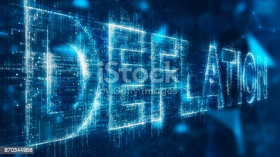 3d illustration text of deflation on abstract background