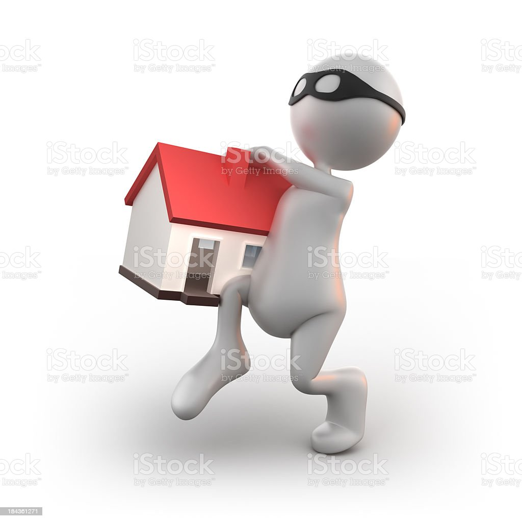 3d Thief stealing house, isolated/clipping path royalty-free stock photo