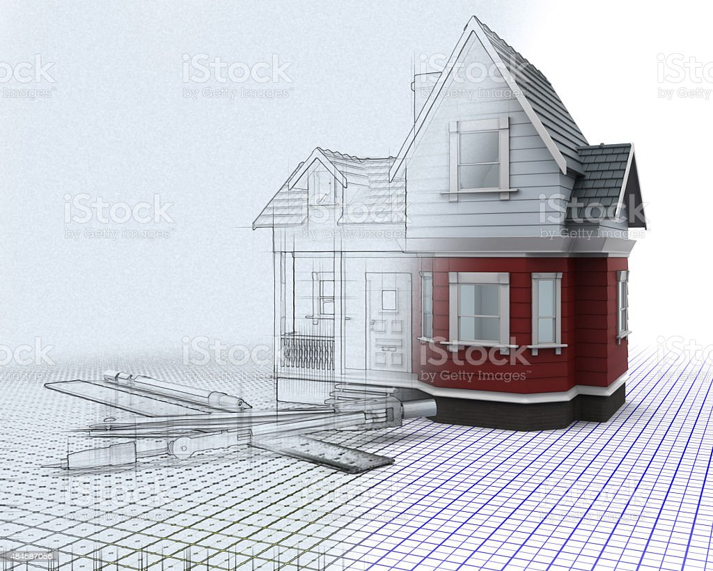 3d timber house on a grid with drawing instruments stock photo