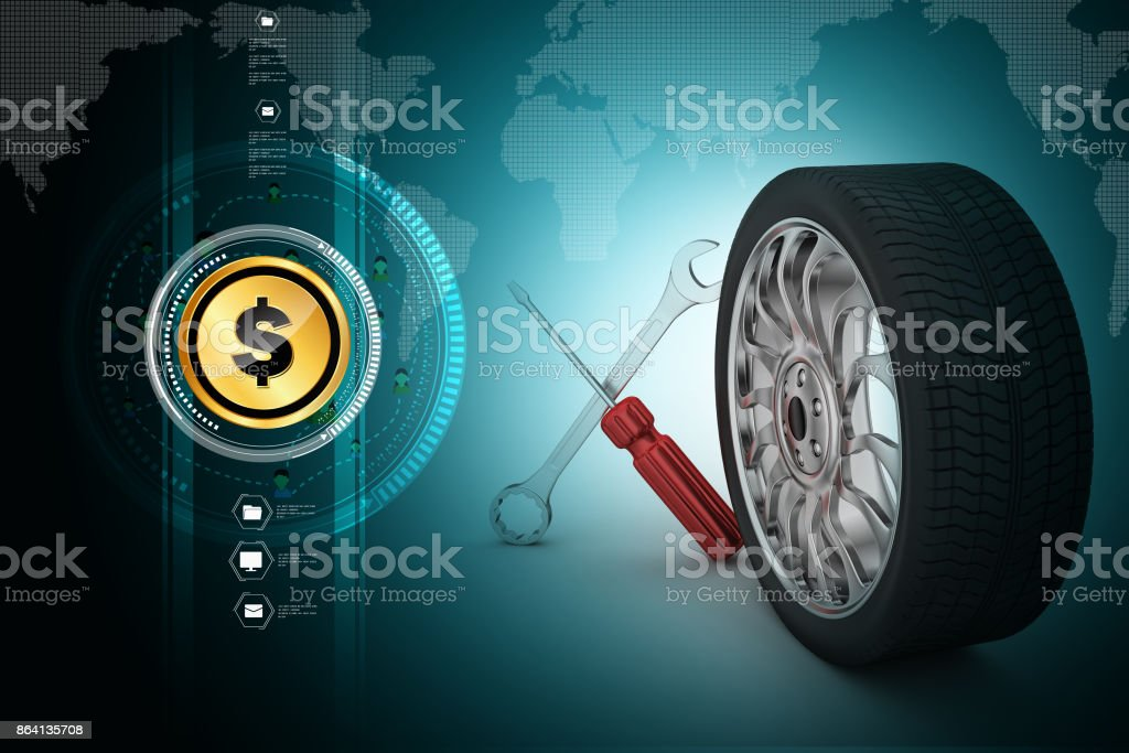 3d tires replacement concept royalty-free stock photo