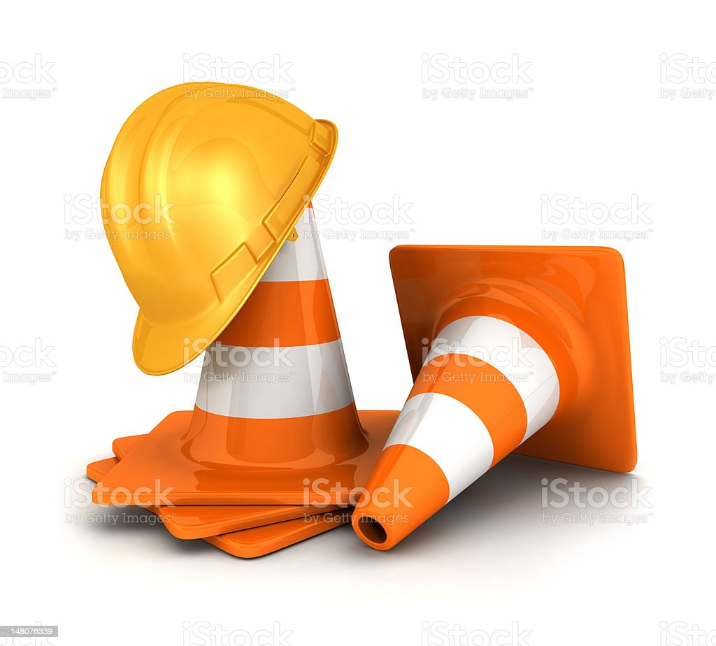 3d traffic cones and a safety helmet stock photo