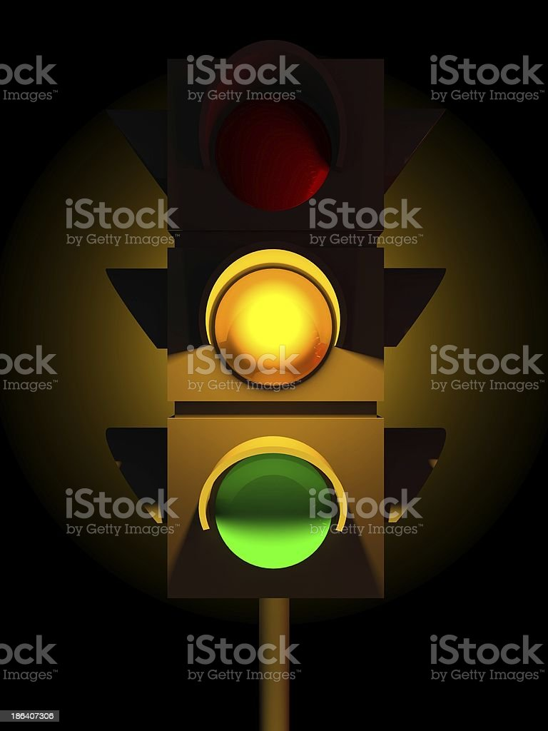 3d traffic yellow light royalty-free stock photo